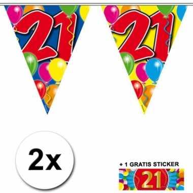 21 jaar vlaggenlijnen 2x met gratis sticker