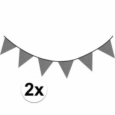 2x antraciet vlaggenlijnen met glitters 6 meter