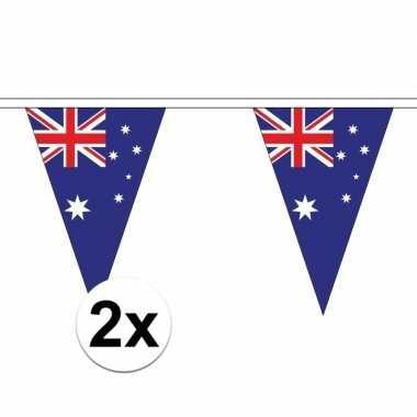 2x australie slinger met puntvlaggetjes 5 meter