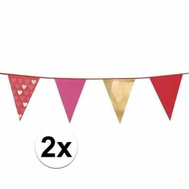 2x bruiloft hartjes slingers 6 meter