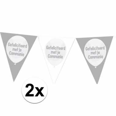 2x communie vlaggenlijnen slingers 10 meter
