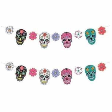 2x day of the dead/dia de los muertos feest/party banner letterslinger versiering karton 120 cm