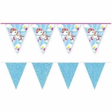 2x eenhoorns thema vlaggenlijnen print en blauwe glitters kinderfeestje/kinderpartijtje versiering/decoratie
