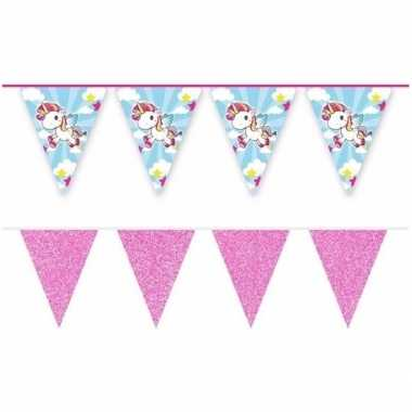 2x eenhoorns thema vlaggenlijnen print en roze glitters kinderfeestje/kinderpartijtje versiering/decoratie