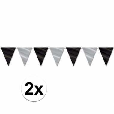 2x feest vlaggenlijn zwart/zilver glimmend
