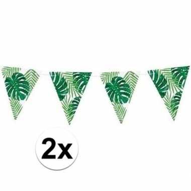 2x feest vlaggenlijnen met bladeren 150 cm