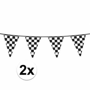 2x finish slinger met driehoek vlaggetjes 6 meter