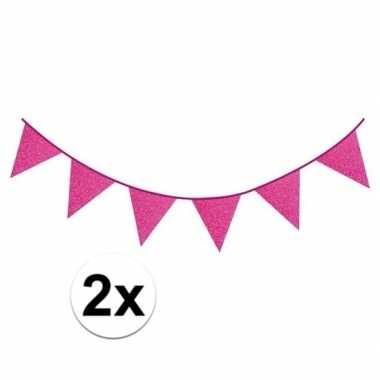 2x fuchsia roze vlaggenlijnen met glitters 6 meter