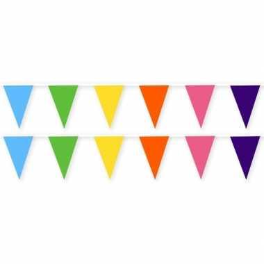 2x gekleurde slinger van stof 10 meter feestversiering