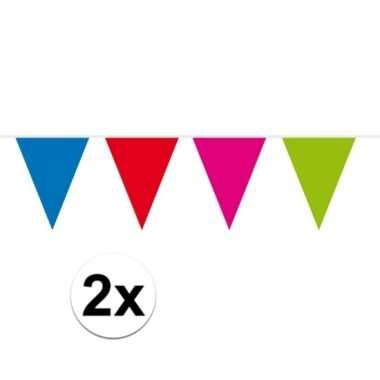 2x gekleurde vlaggenlijn groot 10 meter