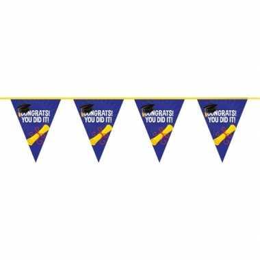 2x geslaagd/afgestudeerd puntvlaggenlijn/slinger 10 meter feestversie