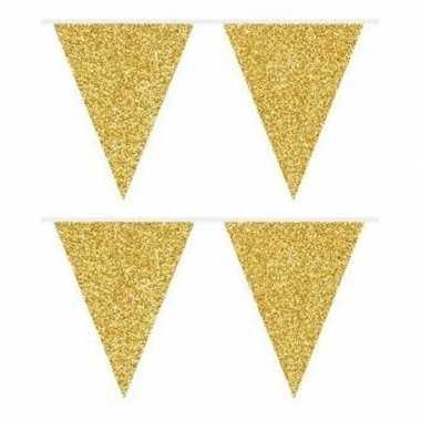 2x gouden vlaggenlijnen met glitters 6 meter