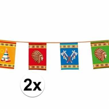 2x grote indianen vlaggenlijnen 10 meter