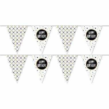 2x happy birthday metallic feest versiering vlaggenlijnen 10 meter