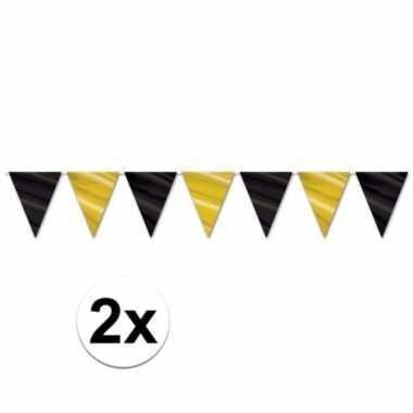 2x hollywood vlaggenlijnen slingers zwart/goud