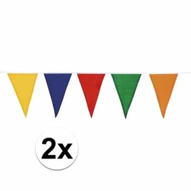 2x katoenen vlaggenlijn gekleurd 10 meter