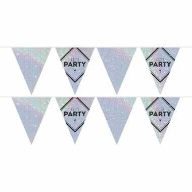 2x lets party holografische feest versiering vlaggenlijnen 10 meter