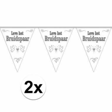 2x leve het bruidspaar bruiloft versiering vlaggenlijn