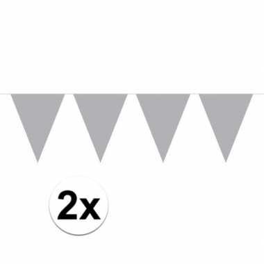 2x mini vlaggetjeslijn / gekleurde slingers 300 cm