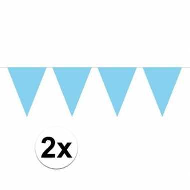 2x mini vlaggetjeslijn slingers verjaardag baby blauw