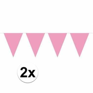 2x mini vlaggetjeslijn slingers verjaardag baby roze