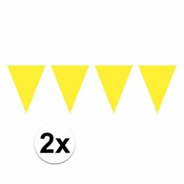 2x mini vlaggetjeslijn slingers verjaardag geel