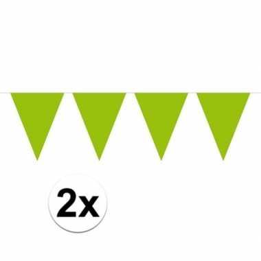 2x mini vlaggetjeslijn slingers verjaardag lime groen