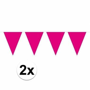 2x mini vlaggetjeslijn slingers verjaardag magenta roze