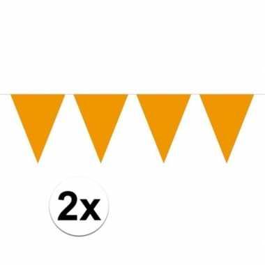 2x mini vlaggetjeslijn slingers verjaardag oranje