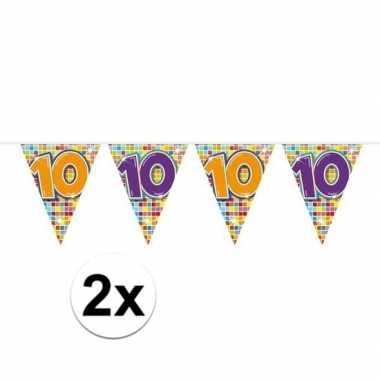 2x mini vlaggetjeslijn slingers verjaardag versiering 10 jaar