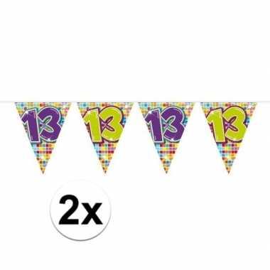 2x mini vlaggetjeslijn slingers verjaardag versiering 13 jaar