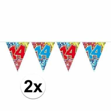 2x mini vlaggetjeslijn slingers verjaardag versiering 14 jaar