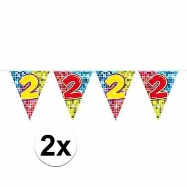 2x mini vlaggetjeslijn slingers verjaardag versiering 2 jaar