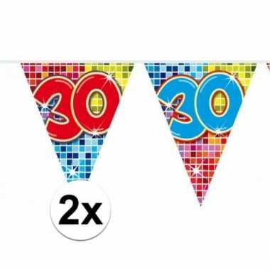 2x mini vlaggetjeslijn slingers verjaardag versiering 30 jaar