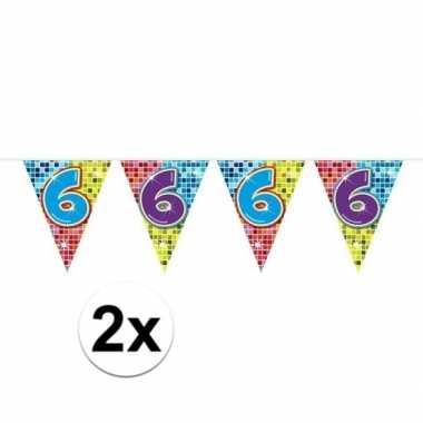 2x mini vlaggetjeslijn slingers verjaardag versiering 6 jaar