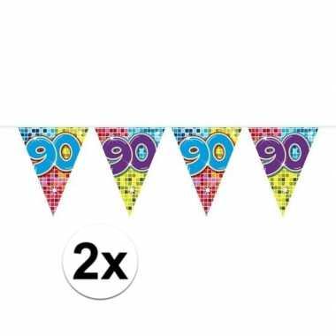 2x mini vlaggetjeslijn slingers verjaardag versiering 90 jaar
