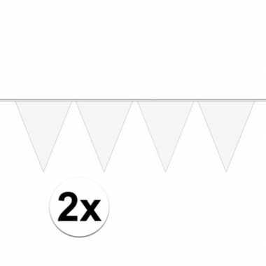 2x mini vlaggetjeslijn slingers verjaardag wit