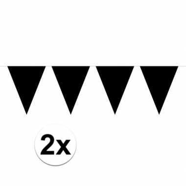 2x mini vlaggetjeslijn slingers verjaardag zwart