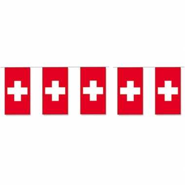 2x papieren vlaggenlijn zwitserland landen decoratie