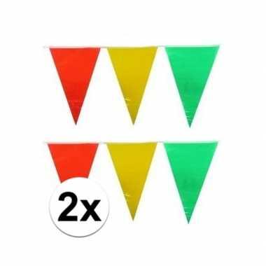 2x plastic vlaggenlijn geel/rood/groen 10 meter