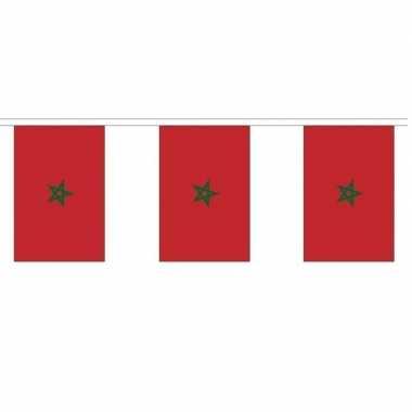 2x polyester vlaggenlijn van marokko 3 meter