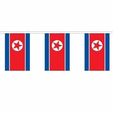 2x polyester vlaggenlijn van noord korea 3 meter