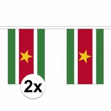 2x polyester vlaggenlijn van suriname