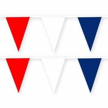 2x rode/witte/blauwe slinger van stof 10 meter feestversiering