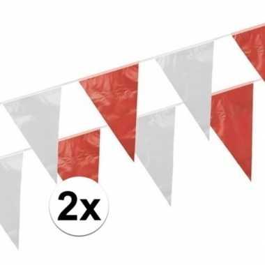 2x rood witte vlaggetjes 10 meter