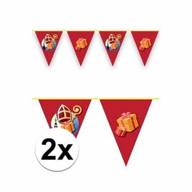 2x sinterklaas decoratie vlaggen slinger rood 6 meter