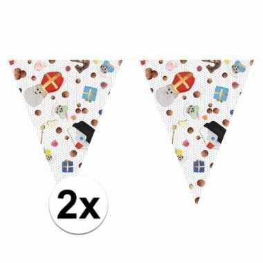 2x sinterklaas versiering vlaggenlijn 10 m snoepgoed print set