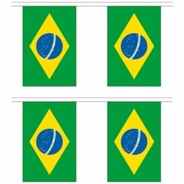 2x stoffen vlaggenlijnen slingers brazilie 3 meter