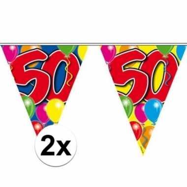 2x stuks 50 jaar slingers vlaggetjes 10 meter