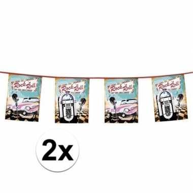 2x stuks rock and roll jaren 50 thema vlaggetjes 6 meter